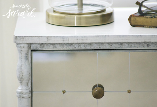 mirrored drawers and distressed paint on an IKEA Rast chest hack, Sincerely Sara D on @Remodelaholic