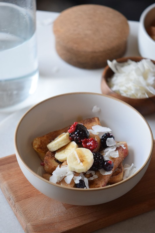Berries, Bananas and French Toast Bowl with Cinnamon Sugar