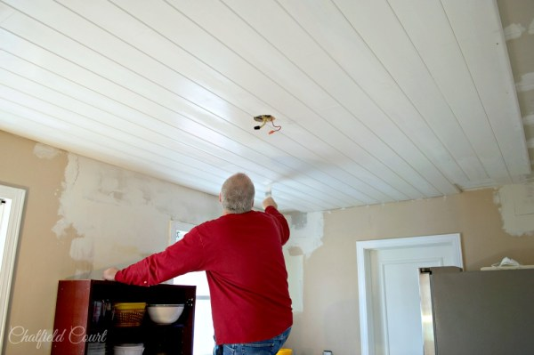 Renovate your kitchen with a plank ceiling, complete tutorial, by Chatfield Court featured on @Remodelaholic