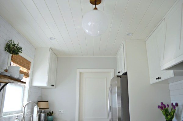 Stunning small kitchen remodel, DIY plank ceiling, by Chatfield Court featured on @Remodelaholic