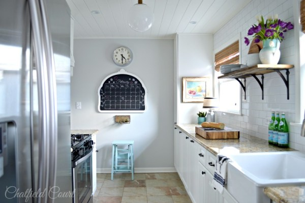 Beautiful small kitchen remodel, plank board ceiling DIY, by Chatfield Court featured on @Remodelaholic