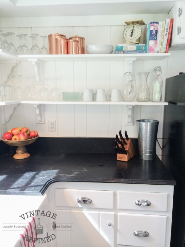 How to build open shelving in white kitchen remodel, by Vintage Refined featured on @Remodelaholic