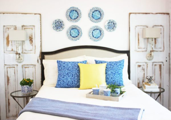Creative ways to use old doors in home decor, bedside lighting, by Simple Nature Decor featured on @Remodelaholic