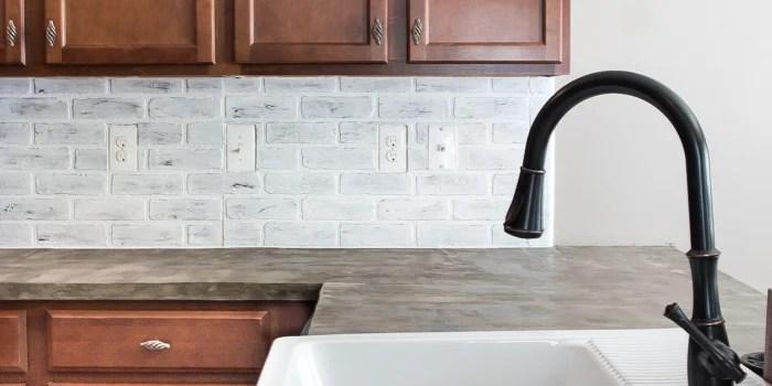 DIY Whitewashed Faux Brick Backsplash & Remodelaholic   DIY Whitewashed Faux Brick Backsplash