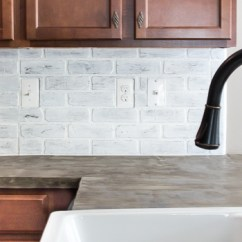 Brick Backsplash In Kitchen Decorative Ceramic Tiles Remodelaholic | Diy Whitewashed Faux
