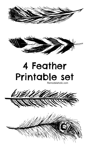 Black Free Feather Printable Collage @remodelaholic 2