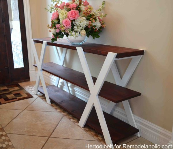 An easy build, DIY Double X console table for your entryway