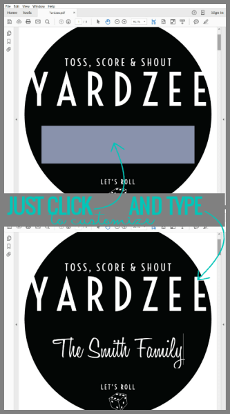 How to customize the free printable Yardzee label from @Remodelaholic
