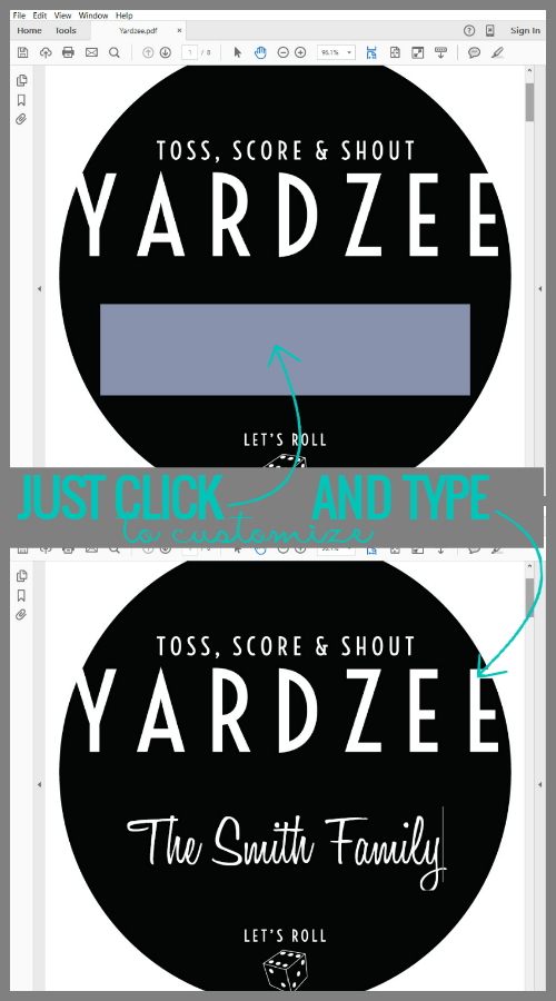 image about Yardzee Rules Printable called Remodelaholic Yardzee Backyard Cube Activity Manual + Printables