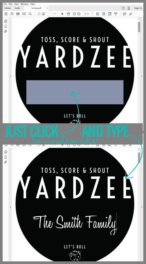 image about Yardzee Rules Printable called Remodelaholic Yardzee Backyard Cube Activity Manual + Printables