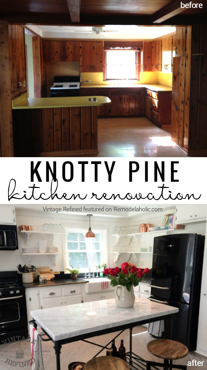 Remodelaholic | Kitchen Renovation: Updating Knotty Pine ...