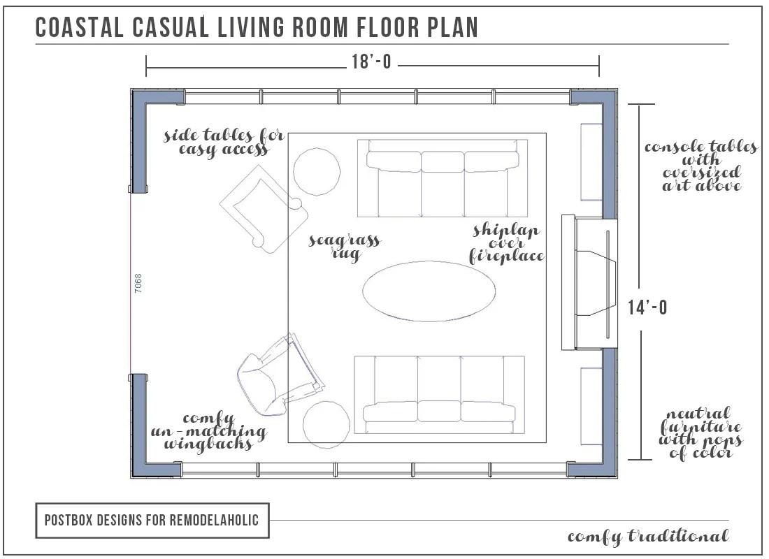 Coastal Living Room Floor Plan by Postbox Designs