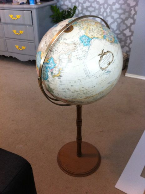 Thrift store globe DIY makeover, by Love and Renovations featured on @Remodelaholic