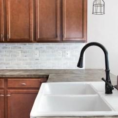 Faux Brick Kitchen Bakers Racks For Kitchens Remodelaholic Diy Whitewashed Backsplash 15 Of 18