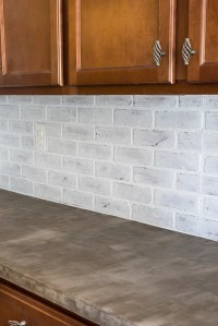 Remodelaholic | DIY Whitewashed Faux Brick Backsplash