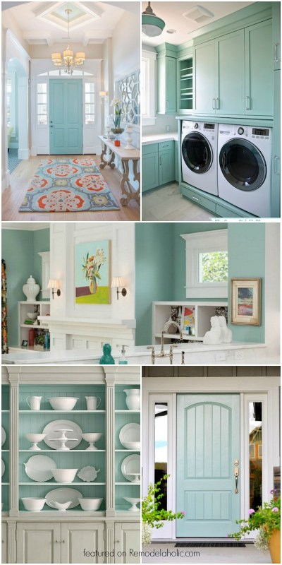 This beautiful light blue-gray paint color is so versatile! Interiors and exteriors, for cabinets, walls, and more! Get all the details in the post on Remodelaholic.com.