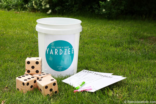 YARDZEE is an oversized take on that classic dice game -- made even more fun since it's played with yard dice on the lawn! This free printable bucket label and score card make it easy to make a Yardzee set for yourself, or to give as a gift.