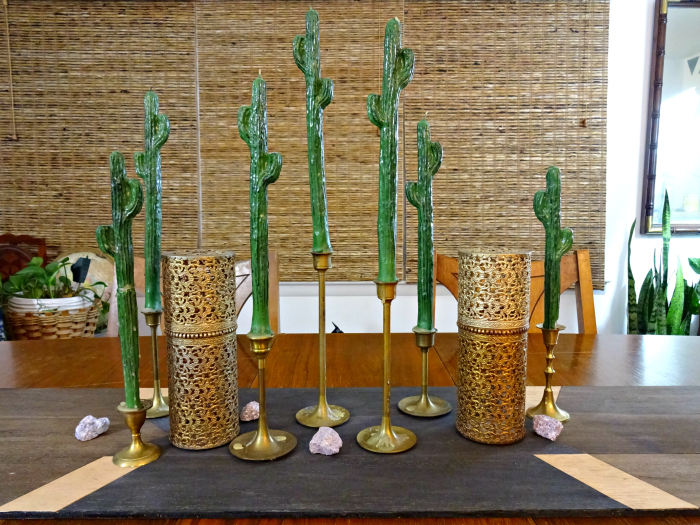 balsa wood runner, thrifted brass candlesticks, whimsical cractus candles