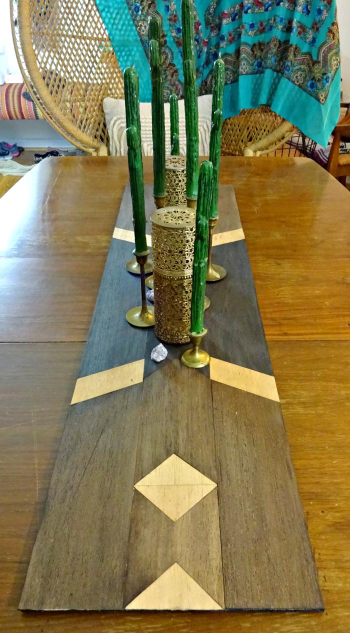 balsa wood table runner in southwestern geometric inspired design