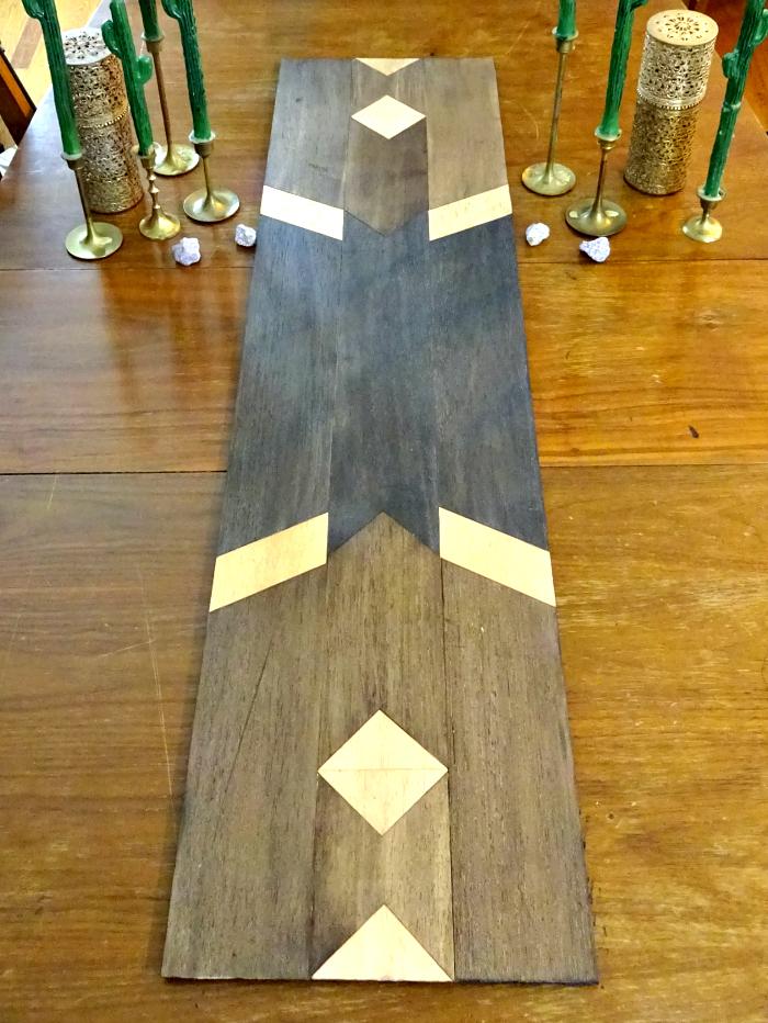 beginner friendly DIY balsa wood southwestern inspired pattern table runner idea