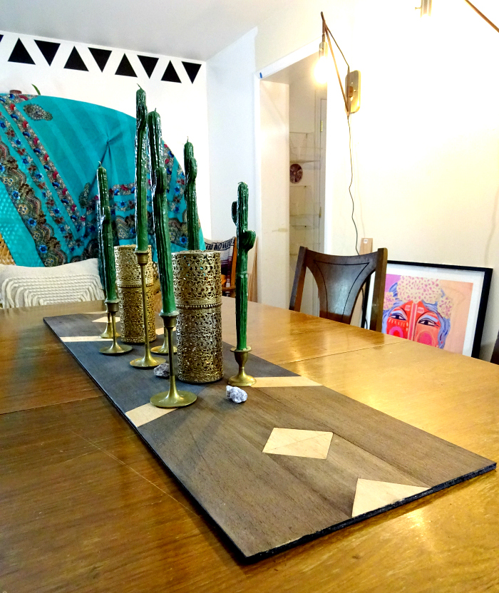 bohemian interiors an unusual take on a table runner. southwestern inspired balsa wood design.