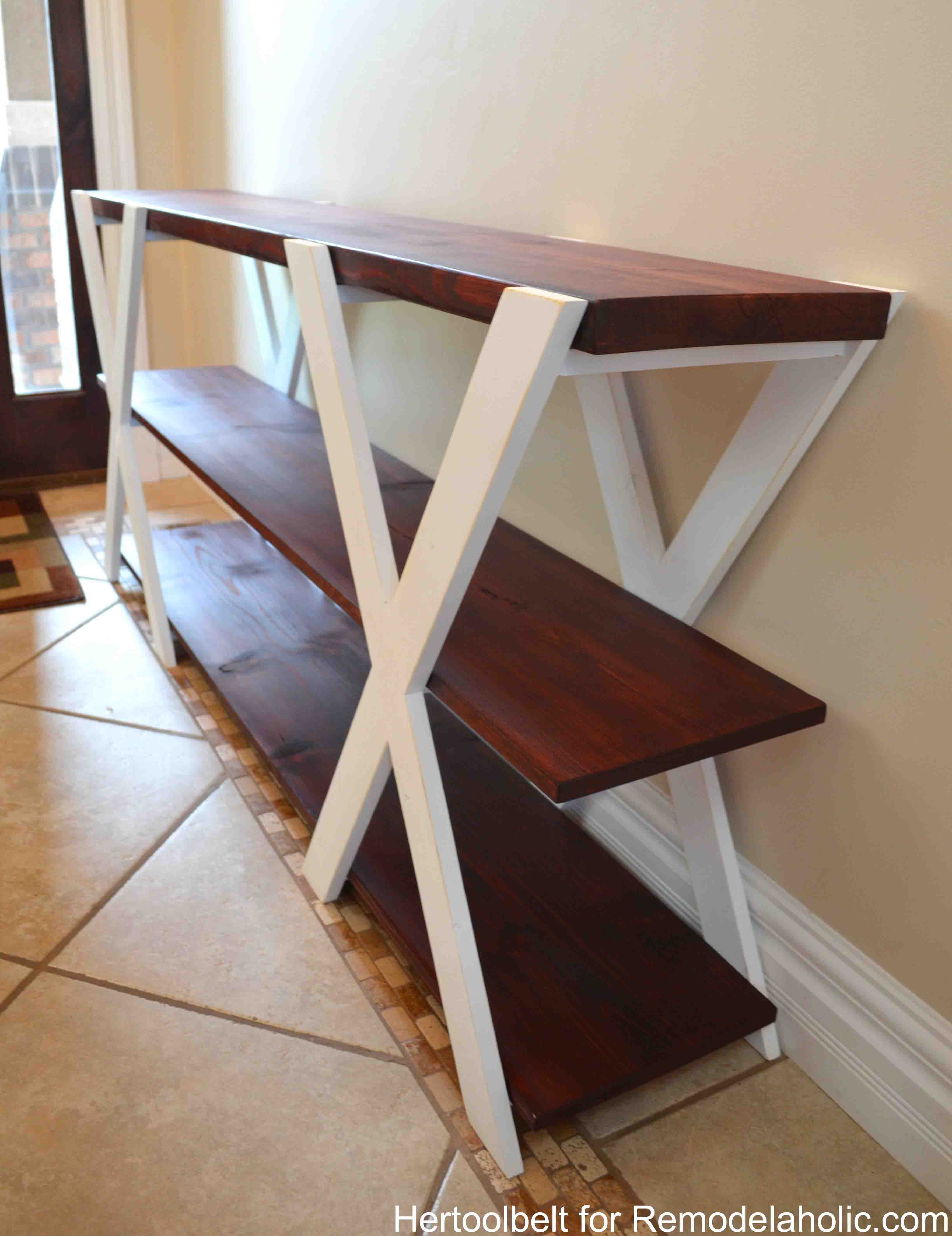 easy sofa table diy navy blue canada remodelaholic double x console