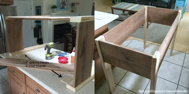 planter box frame built, MyLove2Create for Remodelaholic
