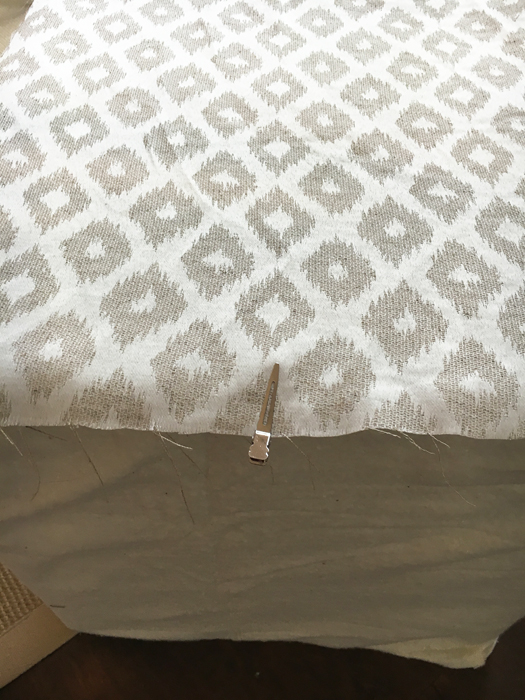 sewing an upholstered ottoman