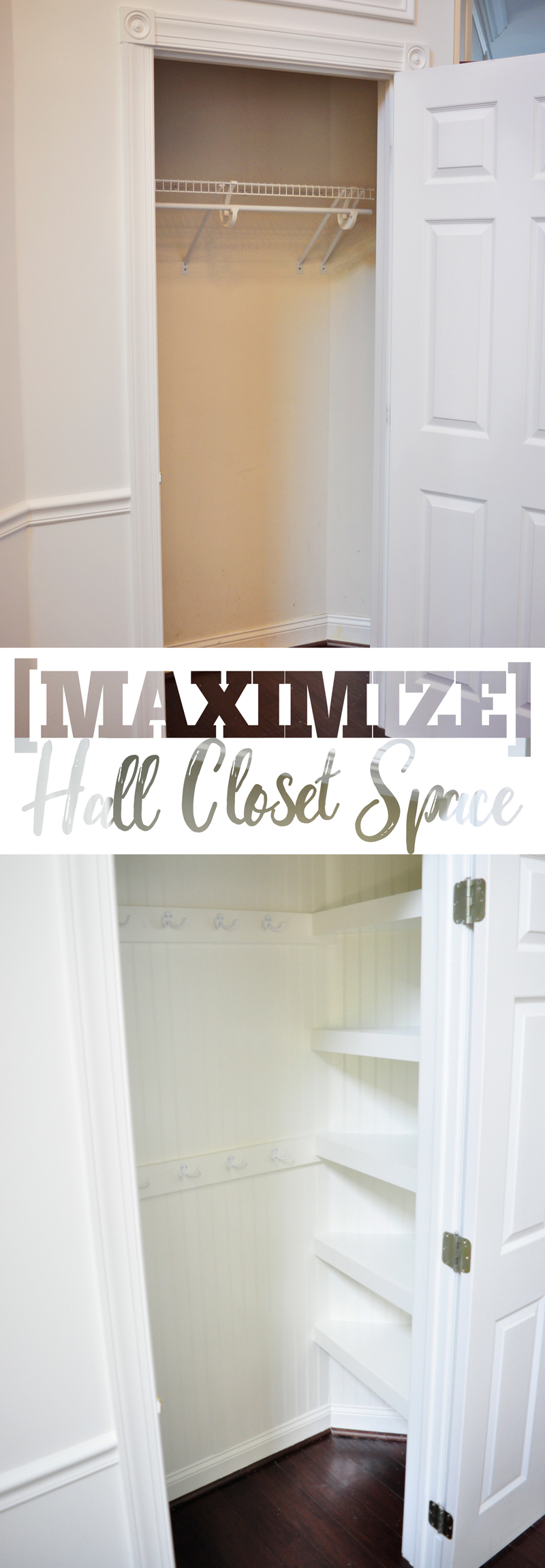 Maximize your hall closet storage by transforming a builder basic inefficient closet space into a space packed with brilliant and space-savvy storage and organizing! How-to on Remodelaholic.com