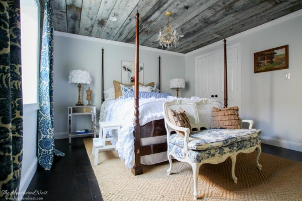 urban country guest room with barn board ceiling, The Heathered Nest