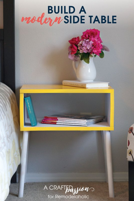 Tutorial for a boxy modern side table with angled legs by A Crafted Passion featured on @Remodelaholic