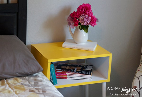 DIY yellow boxy side table adds pop of color to room by A Crafted Passion featured on @Remodelaholic