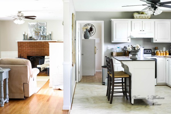 Kitchen transformation, after, wood to white, by Vanessa's Modern Vintage Home featured on @Remodelaholic