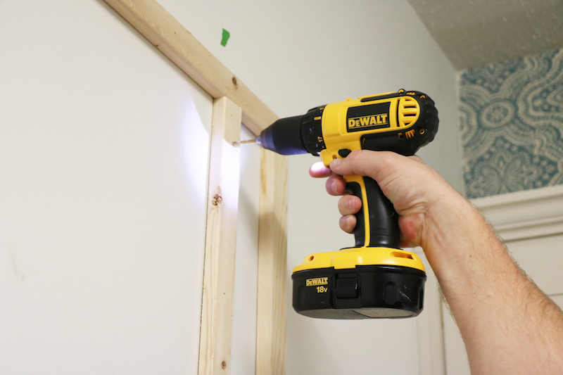 Drilling holes for pegboard