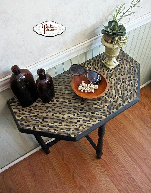 Faux leopard table top patina paradise