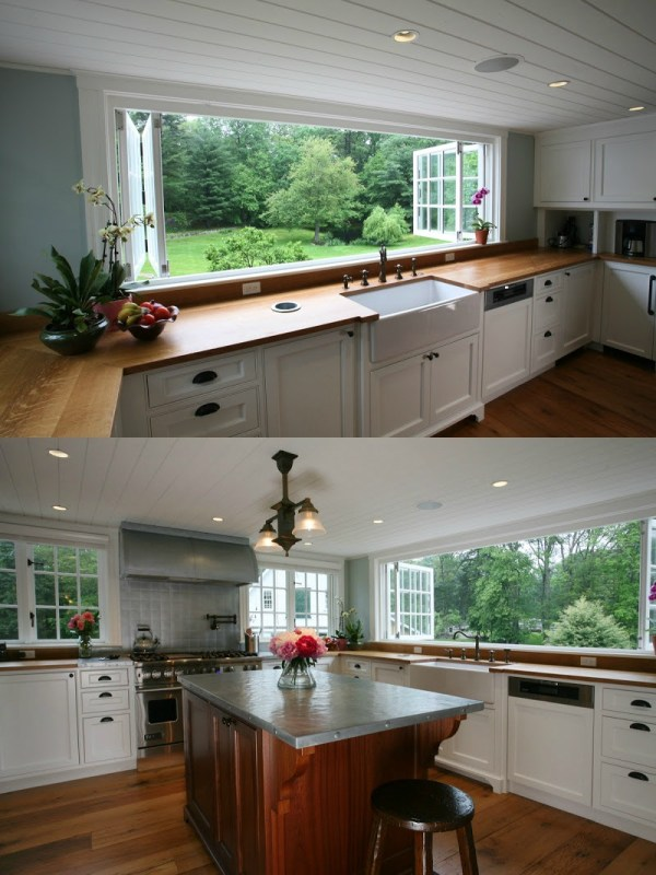Gorgeous open air kitchen in an 1860's farmhouse renovation by Archia Homes, featured on Remodelaholic