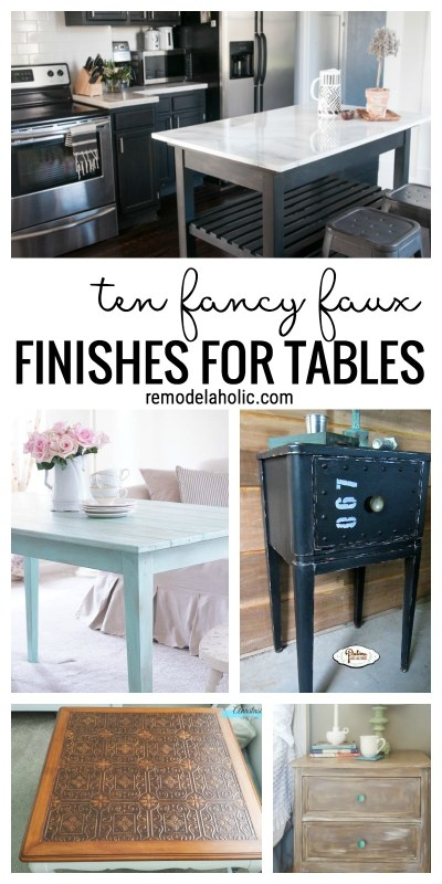 It's amazing all the high-end looks you can fake just with PAINT and some time! Check out all these fancy faux finishes for tabletops and furniture on Remodelaholic.com