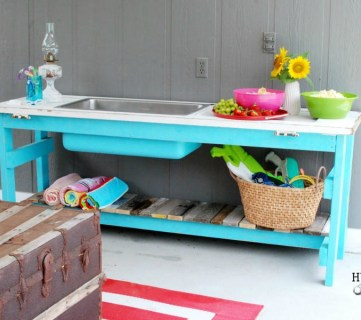 Upcycled Door into Outdoor Serving Table with Sink