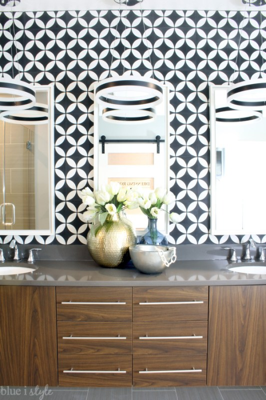 bathroom makeover with bold cement tile, Blue I Style