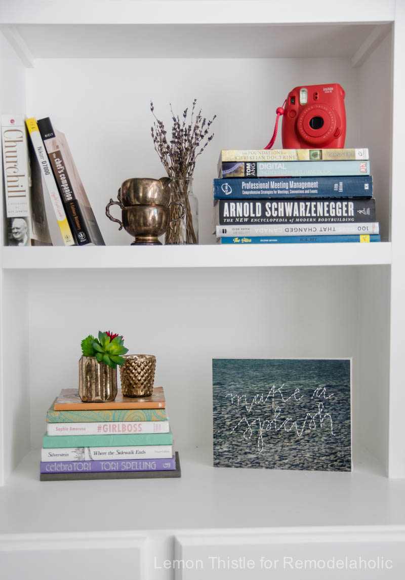 Simple Afternoon Bookshelf Refresh- I want to try this!