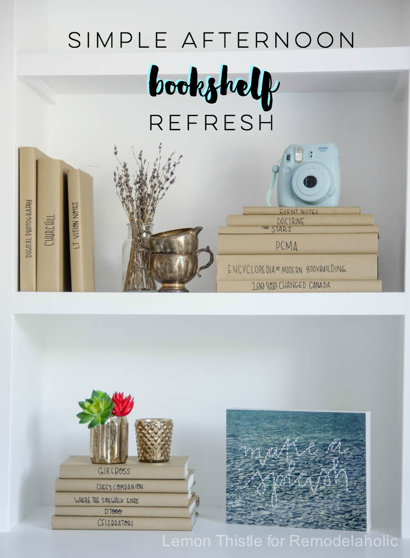 Refresh your bookshelf in an afternoon with easy and inexpensive DIY paper book covers. This way you can have your favorite books, even worn an tattered, while still having a beautifully styled bookshelf! Details from Lemon Thistle on Remodelaholic.com