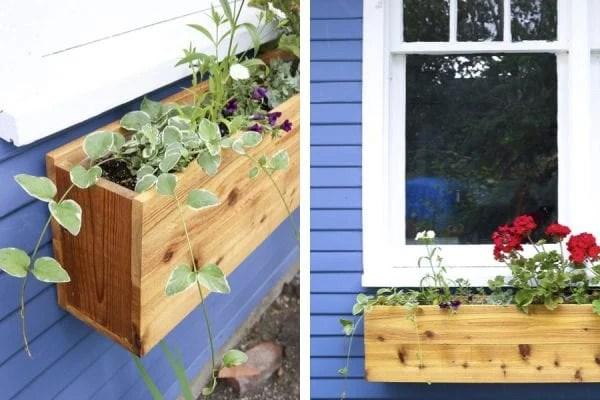 custom DIY cedar wood window box with red geraniums