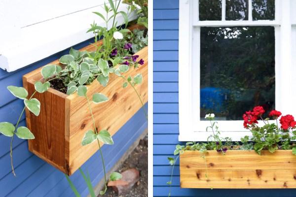 cedar window box with red geraniums