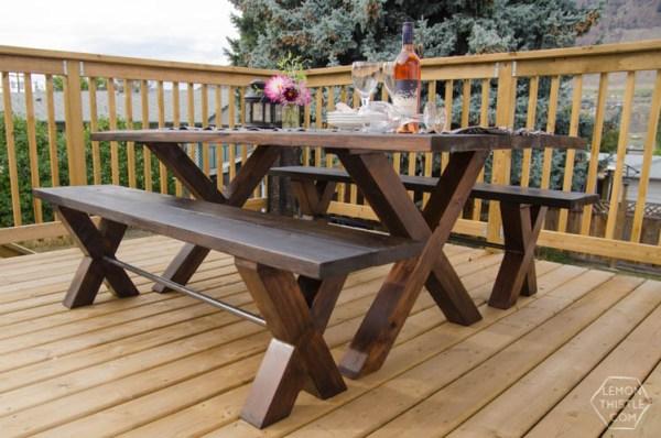 patio picnic table lemon thistle