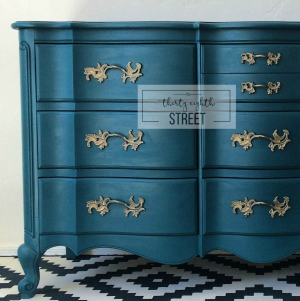 pretty blue painted and glazed dresser makeover, Thirty Eighth Street