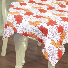 tablecloth orange floral