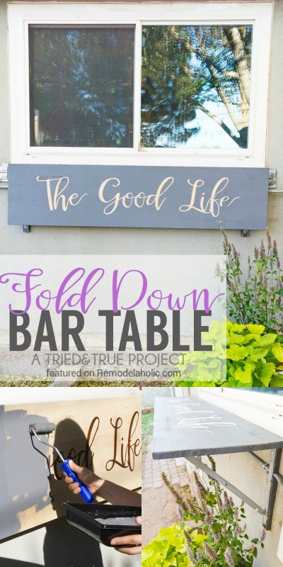 Build a fold down bar table for weekend entertaining and yard decor @Remodelaholic