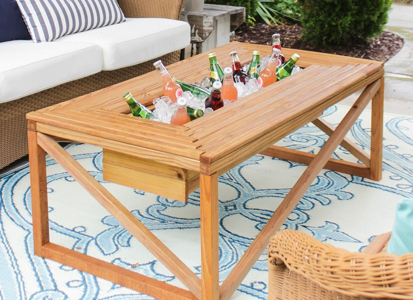 diy outdoor table with cooler. Fine Diy Brilliant DIY Cooler Tables For The Patio With Builtin Coolers Sinks Intended Diy Outdoor Table With