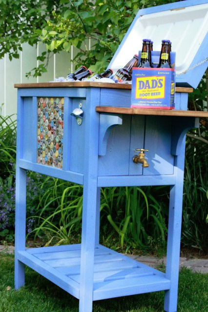 DIY cooler stand with drain and bottle opener, Birds and Soap