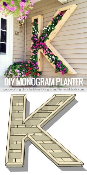 Letter K Monogram Planter Plans Remodelaholic